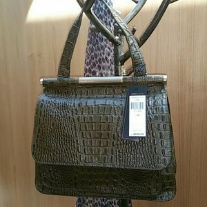 NWT BCBG Max Azaria Olive Leather Crocodile